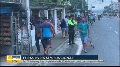 Feiras livres sem funcionar em João Pessoa - Equipes da prefeitura realizaram ação para cumprir decreto.