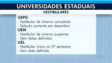 Universidades estaduais cancelam vestibular - Saiba a previsão de novas provas para os vestibulares das Universidades do Paraná.