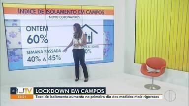 Taxa de isolamento aumenta no primeiro dia de lockdown em Campos, no RJ - O levantamento é feito por uma plataforma digital.