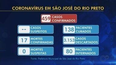 Rio Preto tem 17 mortes e 459 casos confirmados de coronavírus - São José do Rio Preto (SP) confirmou na noite desta terça-feira (19) a 17ª morte por coronavírus. Ao todo, 138 pacientes estão recuperados, 110 infectados são profissionais da saúde e 3.153 exames foram descartados para coronavírus.