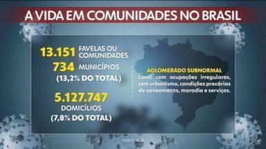 """Levantamento do IBGE relaciona aumento de casos de Covid-19 em favelas - O levantamento do IBGE apurou que existem mais de 13 mil dos chamados """"aglomerados subnormais"""" num total de 734 municípios brasileiros."""