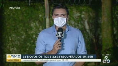 Amazonas registra 58 novos óbitos nas últimas 24 horas - Número de casos confirmados passou para 22.132.
