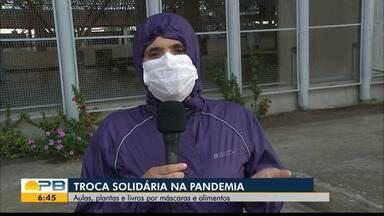 Troca solidária durante a pandemia; aulas, plantas e livros por máscaras e alimentos - Confira os detalhes com o repórter Antônio Vieira.