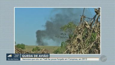 Aeronave que caiu em Tietê fez pouso forçado em Campinas, em 2012 - A queda de um avião na área rural de Tietê deixou duas mortes e foi a mesma empresa que se envolveu em um acidente em Campinas há 8 anos.