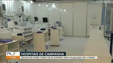 Governo do estado e Iabas divergem sobre datas de inaugurações dos hospitais de campanha - A data de entrega das unidades no interior já foi alterada três vezes.