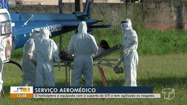 Transporte aeromédico realiza transferência de 12 pacientes em menos de um mês na região - Helicóptero é equipado com suporte de UTI e tem agilizado o resgate de pacientes.