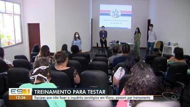 Veja como é o preparo das equipes que fazem o inquérito sorológico no ES - eles recebem treinamento para testar a população.