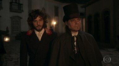 Joaquim tenta convencer José Bonifácio a aceitar o pedido de Dom Pedro - José Bonifácio se entusiasma ao saber que o príncipe tem ideias abolicionistas