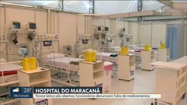 Funcionários do hospital de campanha do Maracanã denunciam falta de medicamentos - Parte do hospital foi inaugurada nesta sexta (22), mas os funcionários denunciam falta de medicamentos.