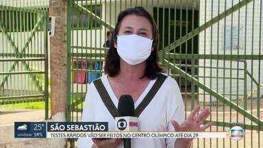 São Sebastião tem posto itinerante de testagem em massa - Até o dia 6 de junho, a Secretaria de Saúde vai levar os postos itinerantes para 27 pontos do DF.