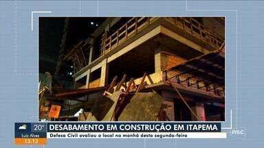 Parte de estrutura de prédio em construção desaba em Itapema - Parte de estrutura de prédio em construção desaba em Itapema