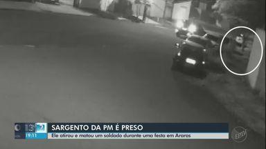 Imagens mostram sargento atirando em soldado em Araras - Paulo Henrique Varuzza Lais de 26 anos teria se envolvido em desentendimento durante festa e não resistiu aos ferimentos, na noite de segunda. Sargento de 40 anos chamou a PM e foi preso.