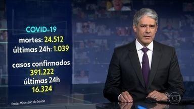 Brasil registra 1.039 mortes por coronavírus nas últimas 24 horas - No total, segundo dados do Ministério da Saúde, o país tem 24.512 vidas perdidas desde o início da pandemia. O número de casos confirmados subiu para 391.222.