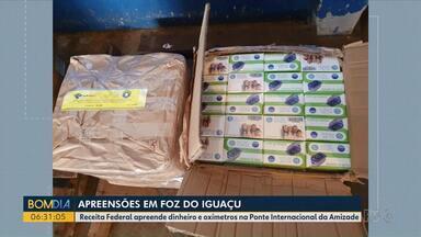 Apreensões em Foz do Iguaçu - Receita Federal apreende dinheiro e oxímetros na Ponte Internacional da Amizade.