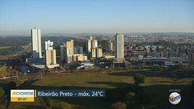 Confira a previsão do tempo para esta quinta-feira (28) em Ribeirão Preto e região - Temperatura deve chegar aos 24º C.