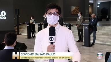 Covid-19: São Paulo registra número recorde de casos e mortes em 24 horas - Foram 6.999 casos e 327 mortes registrados em 24 horas.
