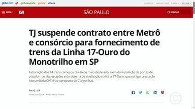 Trubunal de Justiça suspende contrato de trens da Linha 17-Ouro do Monotrilho - Linha que vai ligar o Aeroporto de Congonhas a estação Morumbi da CPTM deveria ter ficado pronta para a Copa de 2014.