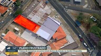 Polícia encontra túnel aberto em residência para ligação até cofre de banco em Campinas - Escavação foi descoberta depois que vigilante na região do Jardim Chapadão relatou ter visto dois homens tentando invadir a casa pelo telhado de um prédio vizinho. Ninguém foi preso.
