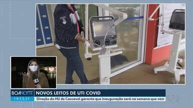 Novos leitos de UTI para Covid-19 - Leitos de UTI estão 100% ocupados em Cascavel.