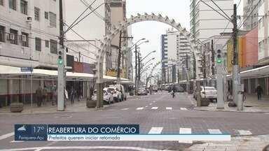 Prefeitos se reúnem com Ministério Público para iniciar retomada da economia - Eles querem iniciar abertura do comércio na região da Baixada Santista.