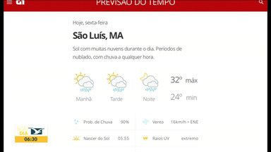 Veja as variações das temperaturas no Maranhão - Confira a previsão do tempo nesta sexta-feira (5) em São Luís e também no interior do estado.