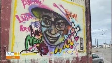 Grafite homenageia garoto Miguel na frente do prédio em que ele morreu ao cair do 9º andar - Pintura foi feita em parede de galpão, no bairro de São José, no Centro do Recife
