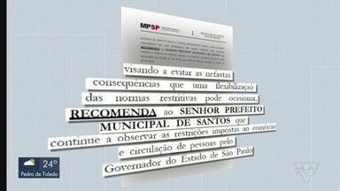 Ministério Público recomenda que Santos aguarde para reabrir comércio - Recomendação é que cidade aguarde a liberação do Governo do Estado.
