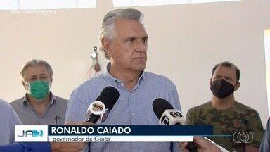 Caiado diz ampliação da estrutura hospitalar de Goiás objetiva flexibilizar isolamento - Governador deu a declaração durante uma visita à obra da Policlínica.