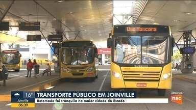 Veja como foi o primeiro dia de retorno do transporte coletivo em cidades de SC - Veja como foi o primeiro dia de retorno do transporte coletivo em cidades de SC