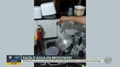Falta de água afeta 40% dos moradores de Brodowski, SP - Prefeitura informou que bomba de poço apresentou problemas.