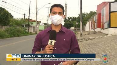Liminar da Justiça; empresas de ônibus devem manter 30% de funcionamento, em CG - Confira os detalhes com o repórter Marques de Souza.