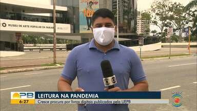 Leitura na pandemia; cresce procura por livros digitais publicados pela UEPB - Confira os detalhes com o repórter Artur Lira.