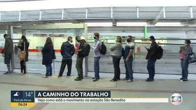 Bom Dia mostra movimento em estação de ônibus - Estação São Benedito em santa luzia fica lotada pela manhã.