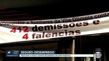 Crescimento dos pedidos de seguro-desemprego - Em maio, número de requerimentos no estado de São Paulo foi o maior em duas décadas, desde que o levantamento começou a ser realizado.