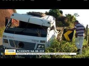 Caminhão carregado com bois quase despenca de ribanceira, em Governador Valadares - Fato ocorreu em trecho da BR-259.