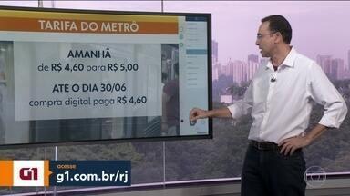 Pssagem do metrô fica mais cara a partir de amanhã - Bilhete vai passar de R$ 4,60 para R$ 5. Quem comprar por meio digital vai continuar pagando tarifa antiga até o dia 30 de junho
