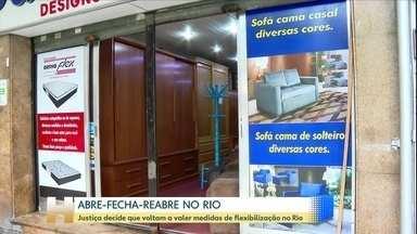 Justiça libera medidas de flexibilização no Rio; shoppings vão reabrir, com restrições - Prefeitura do Rio liberou shoppings, em horários limitados. Praças de alimentação só vão funcionar para entregas e retiradas.