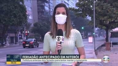 Prefeitura de Niterói antecipa dois feriados para emendar com Corpus Christi - Objetivo é tentar manter o isolamento. Cidade tem 4288 casos e 135 mortes