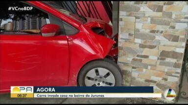 Motorista perde controle e invade casa no bairro Batista Campos, em Belém - Motorista perde controle e invade casa no bairro Batista Campos, em Belém
