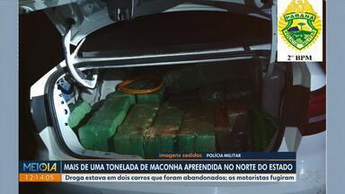 Mais de 1 tonelada de maconha é apreendida no norte do estado - Droga estava em dois carros que foram abandonados; os motoristas fugiram
