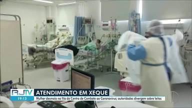 Mulher desmaia no Centro de Combate ao Coronavírus em Campos - Ministério Público volta a contestar a informação da prefeitura sobre leitos de UTI disponíveis.
