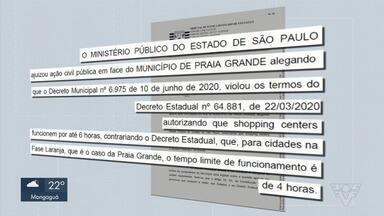 Justiça suspende horário ampliado de funcionamento de shopping em Praia Grande - Liminar acatou pedido feito pelo Ministério Público de São Paulo, que acusou a prefeitura de violar termos de decreto estadual.
