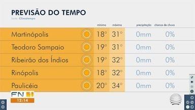 Confira a previsão do tempo neste sábado no Oeste Paulista - Veja como ficam as temperaturas na região de Presidente Prudente.
