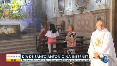 Confira como está sendo a comemoração em homenagem a Santo Antônio neste sábado - Paróquias fazem live das missas para fiéis do santo casamenteiro.