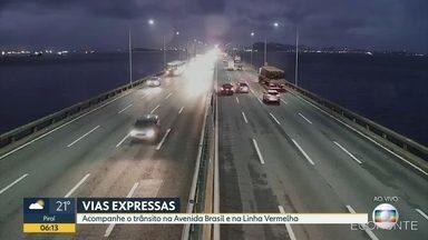 câmeras da cet-rio com a movimentação do trânsito - Avenida Brasil , Ponte Rio-Niterói , Linha Vermelha, BR-101 com trânsito tranquilo