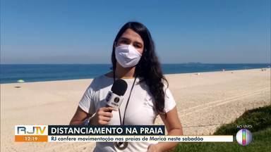 RJ1 confere a movimentação nas praias de Maricá neste sábado - A Prefeitura instalou barreiras sanitárias neste feriado para que turistas não possam entrar na cidade.