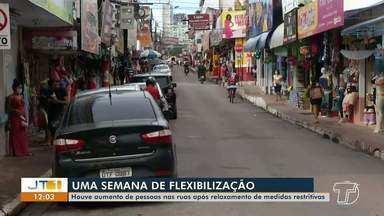 Aumenta o número de pessoas nas ruas devido o afrouxamento das medidas em Santarém - Saiba como foi a movimentação na cidade.