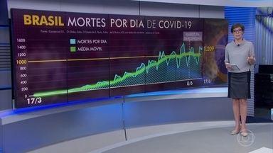 Brasil registra 1.209 mortes por Covid-19 em 24 horas - Número de mortes por Covid-19 no Brasil ficou abaixo do registrado nesta terça (16). A epidemia parece seguir estável no pico de mil mortes em média por dia.