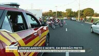 Homem morre atropelado na zona norte de Ribeirão Preto, SP - Vítima de 54 anos foi atingida enquanto atravessava a rua.