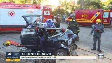 BH tem acidente com três carros no mesmo trecho onde carreta tombou esta semana - Câmera exclusiva mostra momento exato do acidente na MGC-356, na altura do bairro Belvedere